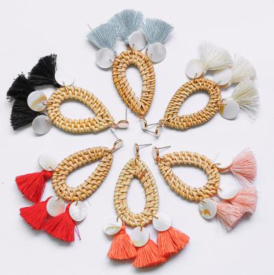 Straw Woven Shell Tassel Drop Dangle Earrings