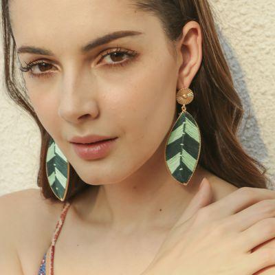 Handwoven Big Leaf Drop Earrings Boho Statement Earrings