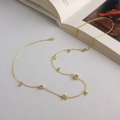 S925 Silver Gold Plated Zircon Layered Neckalce Woman Choker