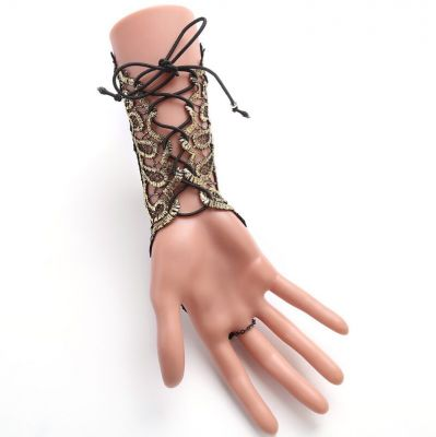 Vintage Lace Ring Bracelets Gotheic Long Embroidered Glove Bracelet