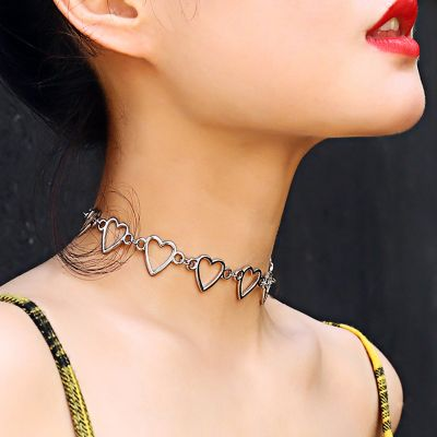 Hollow out Multi-hearts Choker Necklace Gifts for Daughter Girlfriend