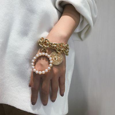 Crab-embossed Pearls Bracelets Set 2 PCs Bohemian Bracelets