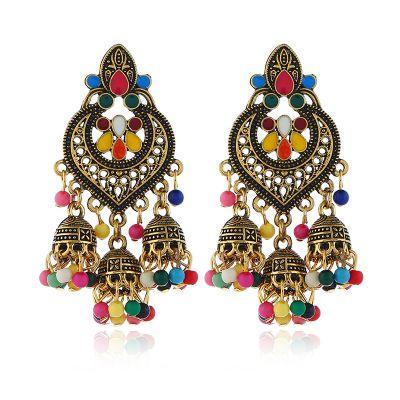 Beaded Tassel Dangle Drop Earrings Boho Gold Statement Earring