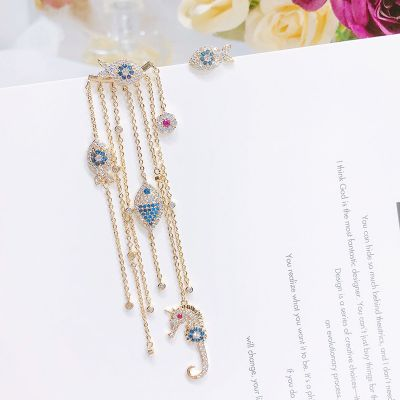 Crystal Fishes Drop Earrings Stud Earring Anti-allergic Mismatched Earrings