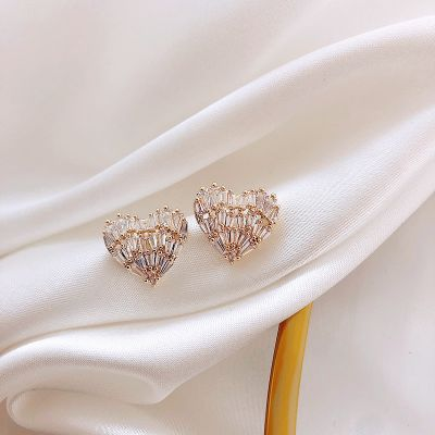 Cute Mini Cubic Zirconia Heart Stud Earring S925 Pins Jewelry Christmas Gifts