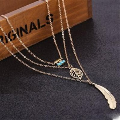 Beads Feather Pendants Layered Necklace Bohemia Woman Necklace
