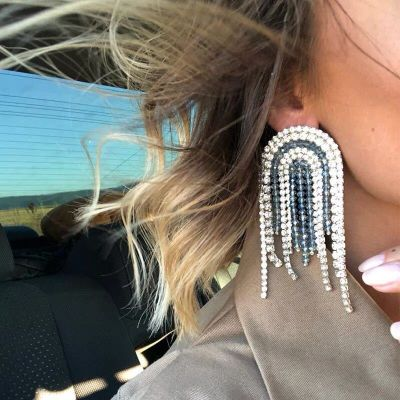 Crystal Fringe Earrings Party Statement Earrings