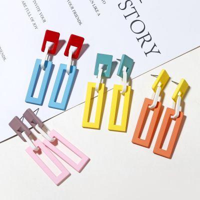 Color Block Summer Geometric Long Dangle Earrings