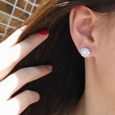 Zirconia Twisting Round Stud Earrings with S925 Studs Wedding Earrings