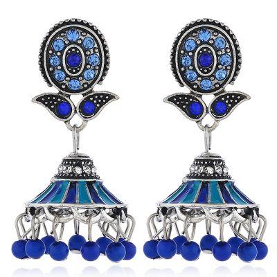 Flower Stud Beaded Tassel Dangle Earrings Boho Chandelier Earring in Silver