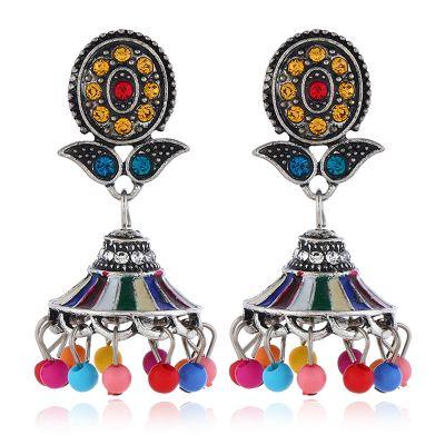 Flower Stud Beaded Tassel Dangle Earrings Boho Chandelier Earring in Silver-Multicolor