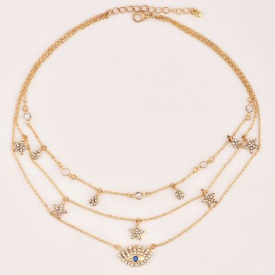 Golden Stars Devil Eyes Multilayer Necklace Chain for Travel