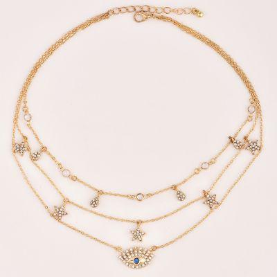 Golden Stars Devil Eyes Multilayer Necklace Chain for Travel