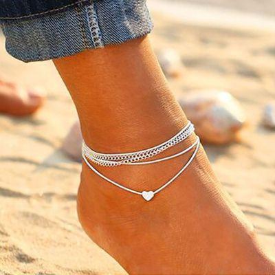Heart Pendant Layered Beach Bohemian Ankle Chain