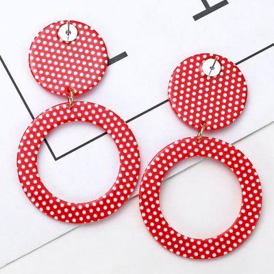 Acrylic Cute Polk Dot Geometric Dangle Earrings