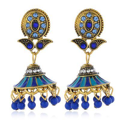 Flower Stud Beaded Tassel Dangle Earrings Boho Chandelier Earring in Gold