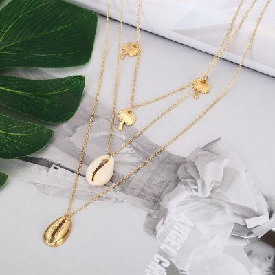 Coconut Palm Pendants Shell Multi-layer Necklace Birthday Gifts