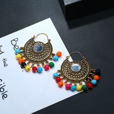 Multicolor Beads Drop Hoop Earrings Dangle Earring for Travel