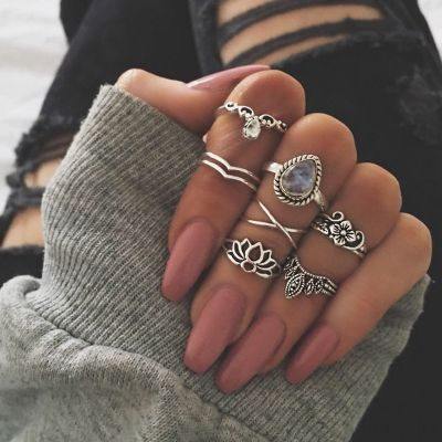 Boho Rings Set 7 Pack Hollow-out Flower Crystal Midi Rings