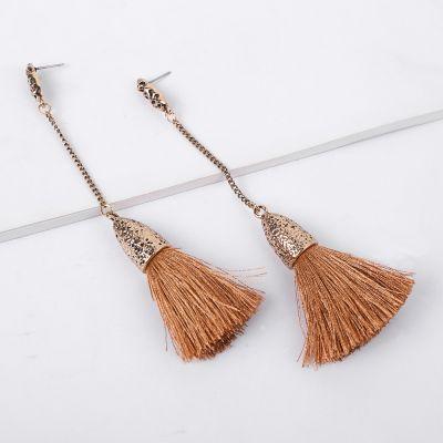 Tassel Drop Long Line Dangle Earrings Vintage Brass Earring