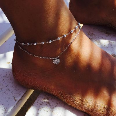 Alloy Heart Charm Ankle Bracelet Gifts for Mother Daugther Wife