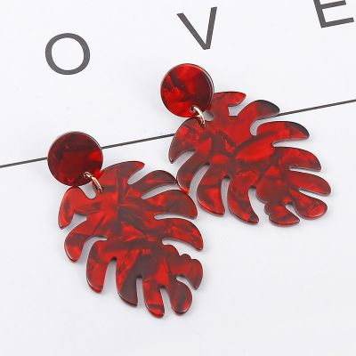 Acrylic Big Pam Leaf Drop Earrings Boho Dangle Earring