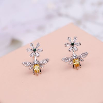 Rhinestones Bee Flower S925 Stud Earring Gifts for Her