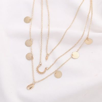 Alloy Multilayer Shell Necklace Beach Bohe Necklace for Travel