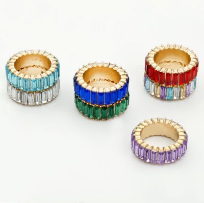 Colorful Square Zirconia Rings 7Pieces Set Bohemia Rings