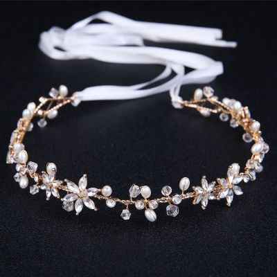 Rhinestone Flowers Bridal Hair Band in Silver for Outdoor Wedding