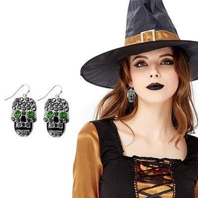 Skull Rhinestones Hook Earrings Halloween Woman Earring