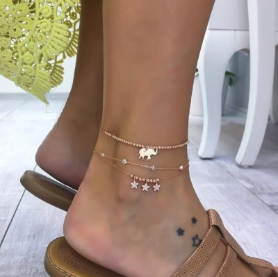Elephant Stars Pendants Cute Ankle Bracelet 3 PCs as Gifts