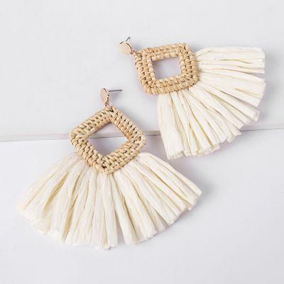 Rattan Braid Dangle Earrings Bridal Raffia Drop Earrings