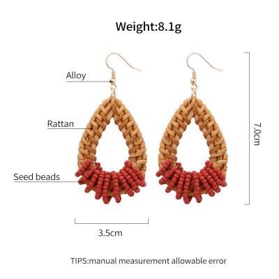 Rattan Drop Beaded Dangle Earrings with Antiallergic Hook