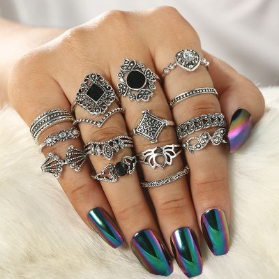 Vintage Black Crystal Rings Set Flower Midi Ring 15 PCs