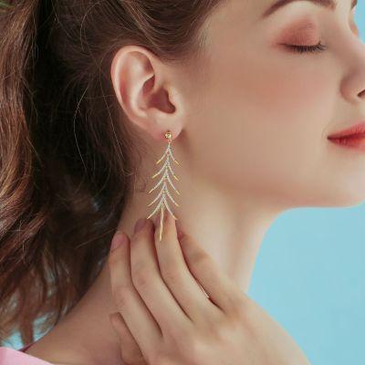 Sterling Silver S925 Chirstmas Tree Earrings Long Liner Earrings