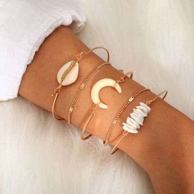 Bohemian Shell Moon Chain Bracelets 5 Pack Bangle Gifts for Her