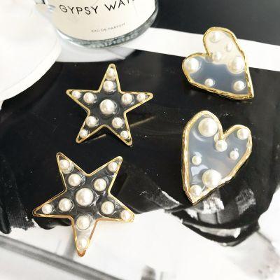 Pearls Star Stud Earrings Big Statement Earrings