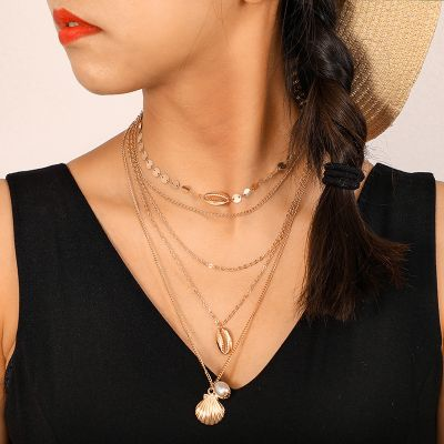 Beach Boho Shell Pearl Pendant Multi-layered Chain Necklace