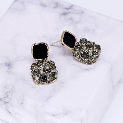 Vintage Square Rhinestones Dangle Earrings Party Clip-on Earring