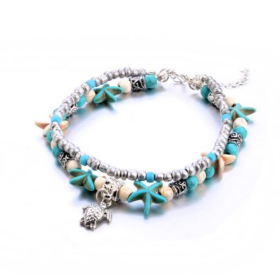 Turquoise Turtle Starfish Charm Layered Ankle Bracelets for Beach