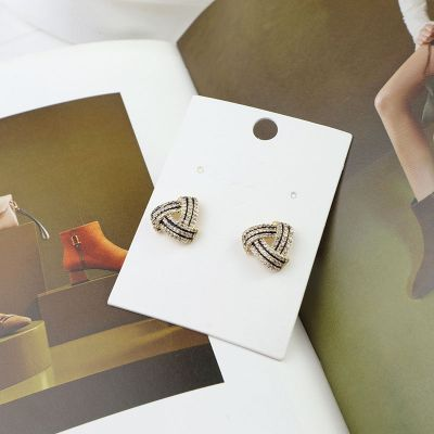 Fashionable Rhinestones Geometric Mini Stud Earrings with S925 Pin