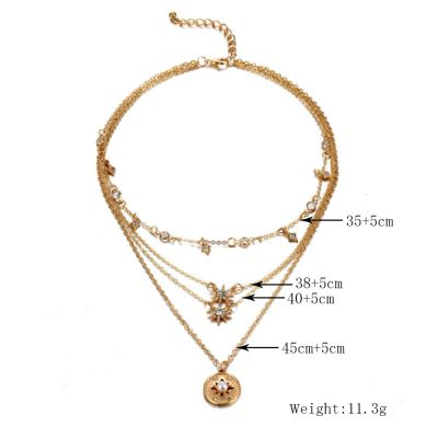 Fashion Multilayer Hexagram Pearl Charm Necklace Sweater Necklace