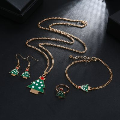 Christmas Tree Jewelery Set Necklace Pendant Ring Earrings Sets