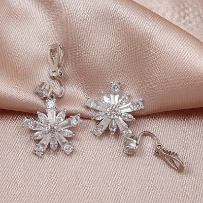Zircon Snowflake Dangle Drop Earrings Cute Antiallergic Ear Clip
