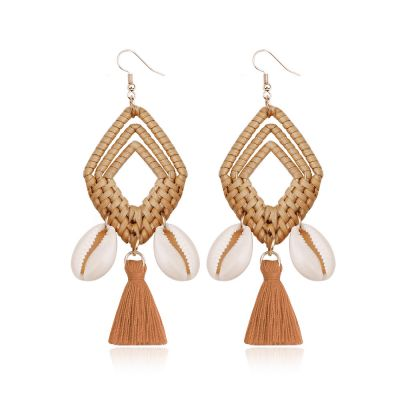 Rattan Braid Shell Tassel Drop Bohemia Dangle Drop Earrings