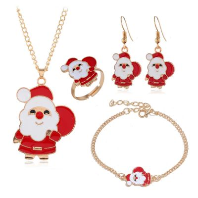 Santa Claus Necklace&Earrings Rings Cute Jewelery Sets for Girls