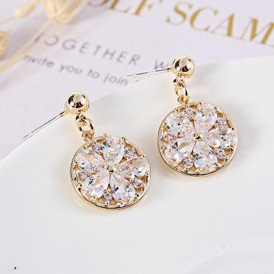 Round Zircon Drop Dangle Earring Clip on Earrings in Gold