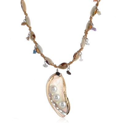 Sea Shell Pearls Pendant Bohemian Necklace