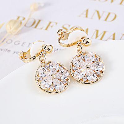 Round Zircon Drop Dangle Earring Clip on Earrings in Gold